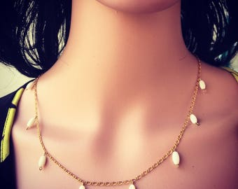 essem JAC Mother of Pearl & Gold Filled Chain Necklace + Earrings Set
