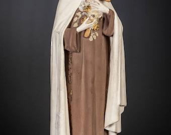 "17"" Saint Therese of Lisieux Polychromed Plaster Statue Vintage St Figure"