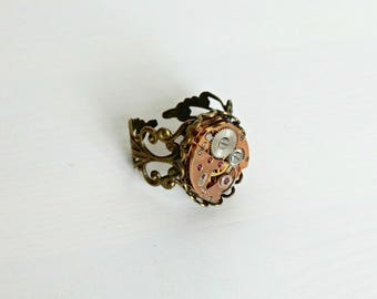 Steampunk watch ring, Watch movement ring, Steampunk adjustable ring, Vintage ring, Bronze filigree ring, Gift for her