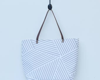 Large Canvas Tote-White & Grey Angled Stripes, Leather Straps, Neutral Tote, Diaper Bag, Book Bag, Beach Bag, Everyday Tote