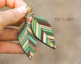 Wooden Leaves Earrings/ handmade jewelry wood earrin set hand painted leaf ethnic style nature natural colors green brown colors