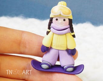 Snowboarder Girl Brooch / handmade polymer clay jewelry / Cute snowboarding girl pin / yellow purple colors / snowboard snow winter sports