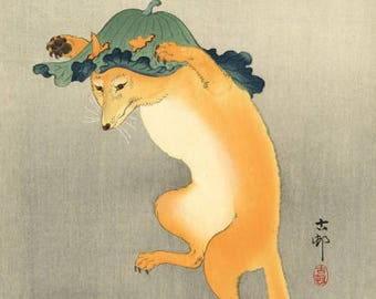 "Japanese Art Print ""Dancing Fox with Lotus Leaf Hat"" by Ohara Koson, woodblock print reproduction, fine art, asian art, cultural art"