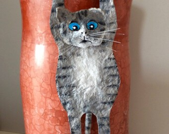 NEW Cat hanging, paper mache and acrylic.