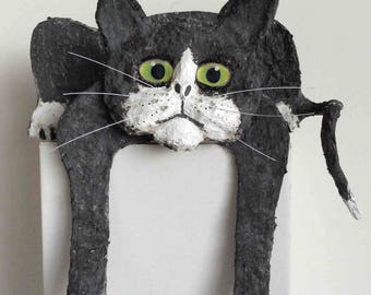 Tired Black Cat, paper mache and acrylic.