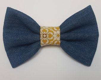 Denim/Yellow Dog Bow tie