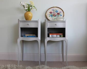 Delightful Matching Pair of Grey Hand Painted Bedside Tables / Bedside Cupboards / Cabinets / Night stands