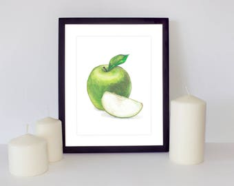 Fruit Print, Apple Printable, Green apple print, Watercolor Painting, Apple Art, Apple Print, Hand Drawn, Kitchen decor, Kitchen printable
