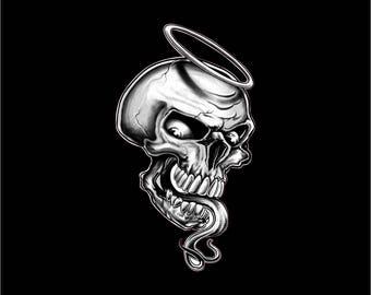 Angel decal, angel skull decal, angel skull sticker. angel car decal, angel skull laptop sticker