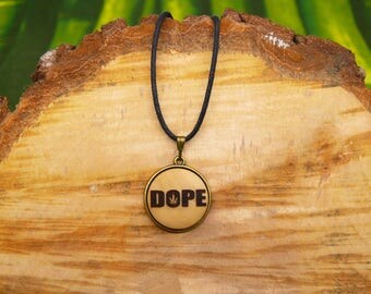 "Soul slices ""Dope"" 20mm bronze + wood necklace, vintage * Ethno * hippie * MUST have * statement *"