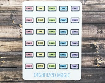 cassette tape planner stickers, music stickers, concert stickers, retro stickers, 80s stickers