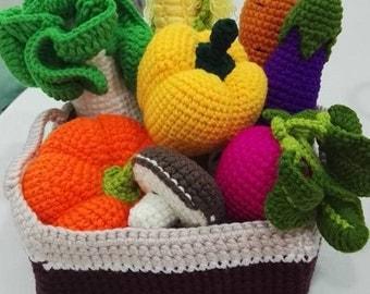 Crochet play food , crochet vegetable