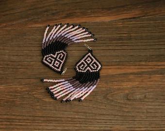 Huichol inspired beaded earrings