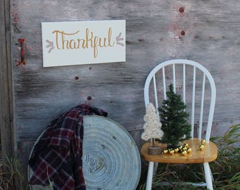 Cottage Wall Art/Gift under 50/Large Thankful Sign/Thanksgiving Decorations/Farmhouse Canvas Sign/Christian Wall hanging/Inspirational Quote