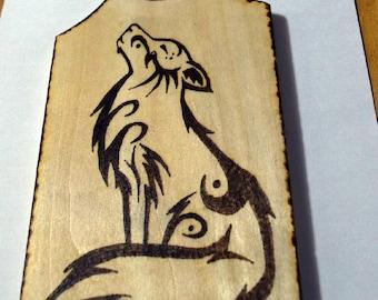 Picture pyrography burning on wood woodart Fox Square Wolf Moon Wolf Luna Magic Celtic