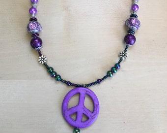 Beaded Purple Peace Sign Necklace