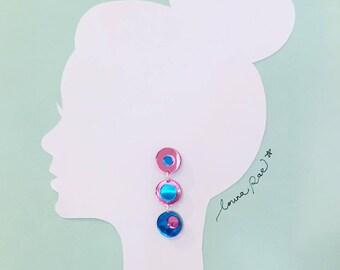 Carrie Dangle Earrings - Pink/Blue