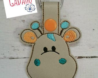 Cute Little Giraffe Face Key Fob Snap Tab Embroidery Design 4X4 size