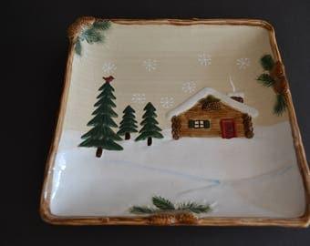 "Vintage St Nicholas Square HEARTLAND Platter 11 1/2"" Cabin Scene Christmas"