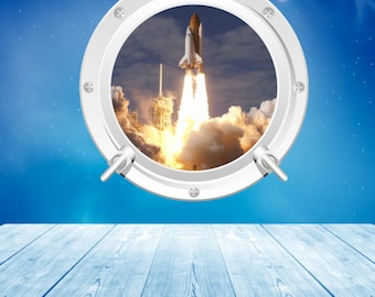 Porthole Wall Decal Full Color Space Shuttle Launch Space Rocket Wall  Sticker Kids Bedroom Decal Mural
