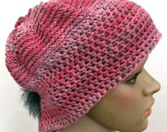 Pink Crochet Hat with Fur