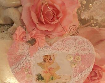 Vintage Felt Valentine Heart Hanger Shabby Chic Cherub Pink Lace Heart Ornament Romantic Lace Valentine Ornament Pink Roses Heart Charm