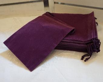 10 Purple Velvet Draw String Favor Bags 5x7 Inches