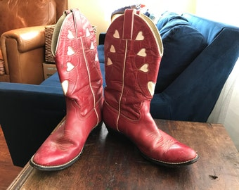 Red Heart Cowboy Boots
