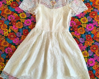Vintage Off White Ivory Lace Short Sleeve Sweet Floral Polka Dot Puff Sleeves Slip Dress