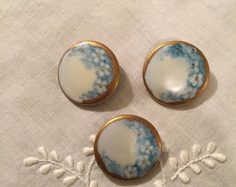 Vintage Buttons = Hand Painted Porcelain Set of 3