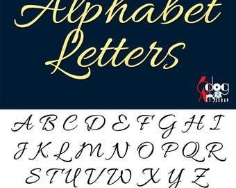 Elegant Cursive Alphabet SVG DXF Vector Cut Files Monogram Font Cuttable Letters Vinyl Iron On Heat Press Transfer Silhouette Cricut JB-775