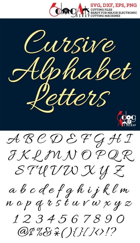Download Elegant Cursive Alphabet SVG DXF Vector Cut Files Monogram