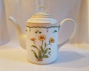 "Vintage Georges Briard ""Victorian Garden"" Floral Teapot Coffee Pot"