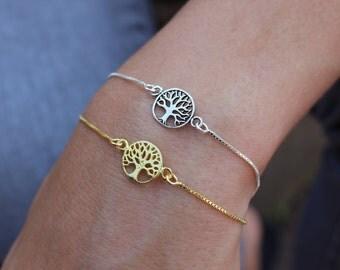 Tree Of Life Bracelet, Dainty Bracelet, Tiny Bracelet, Layered Bracelet, Tree Bracelet, Gift For Her, Silver Bracelet, Gold Bracelet