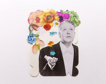 man with falling flowers, original paper collage