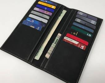 Black Leather Wallet, Leather Travel Wallet,  Wallet, Travel Wallet, Distressed Leather Wallet,minimalist Wallet