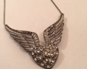 Love on Wings Silver Necklace