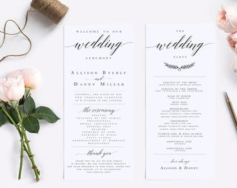 Elegant Calligraphy Wedding Program Template Modern Wedding Program Template  Wedding Program Printable Wedding Ceremony Template #WP30