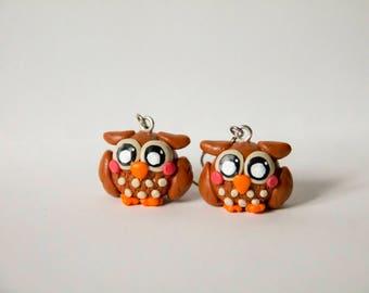 OWL, OWL earrings, earrings, cute, girly, fimo, polymer clay, polymer clay
