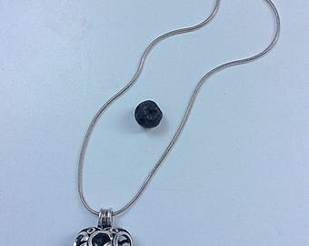 Necklace with stones volcanic heart charm / silver, black stone / fragrance of essential oil diffuser