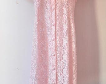 1980s Vintage Pink Floral Lace Dress by Dawn Joy Fashions