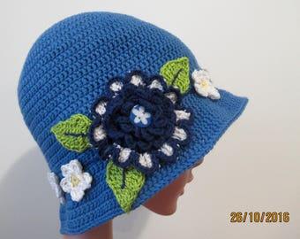 Hat, crochet cotton hat, girls hat, blue cotton hat, flower motifs, bucket hat.
