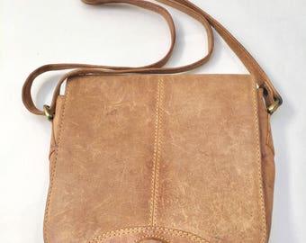 Vintage, brown leather shoulder bag, with lots of pockets