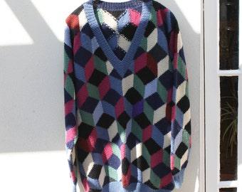 Hand knitted tumbling blocks sweater