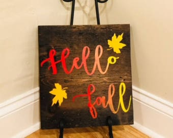 Hello fall wooden sign, fall sign, fall decor