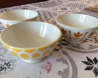 3 small bowls vintage french 1950-1970's