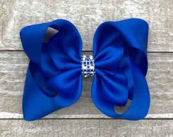 Royal Blue Satin Twisted Boutique Hair Bow With Rhinestone Center