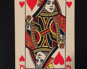Vintage Playing Card - Queen of Hearts