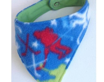 Bandana Bib for Baby--Hockey Night Tonight--blue, lime, and red
