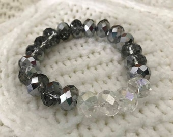 Sparkly Gray and Clear Beaded Bracelet